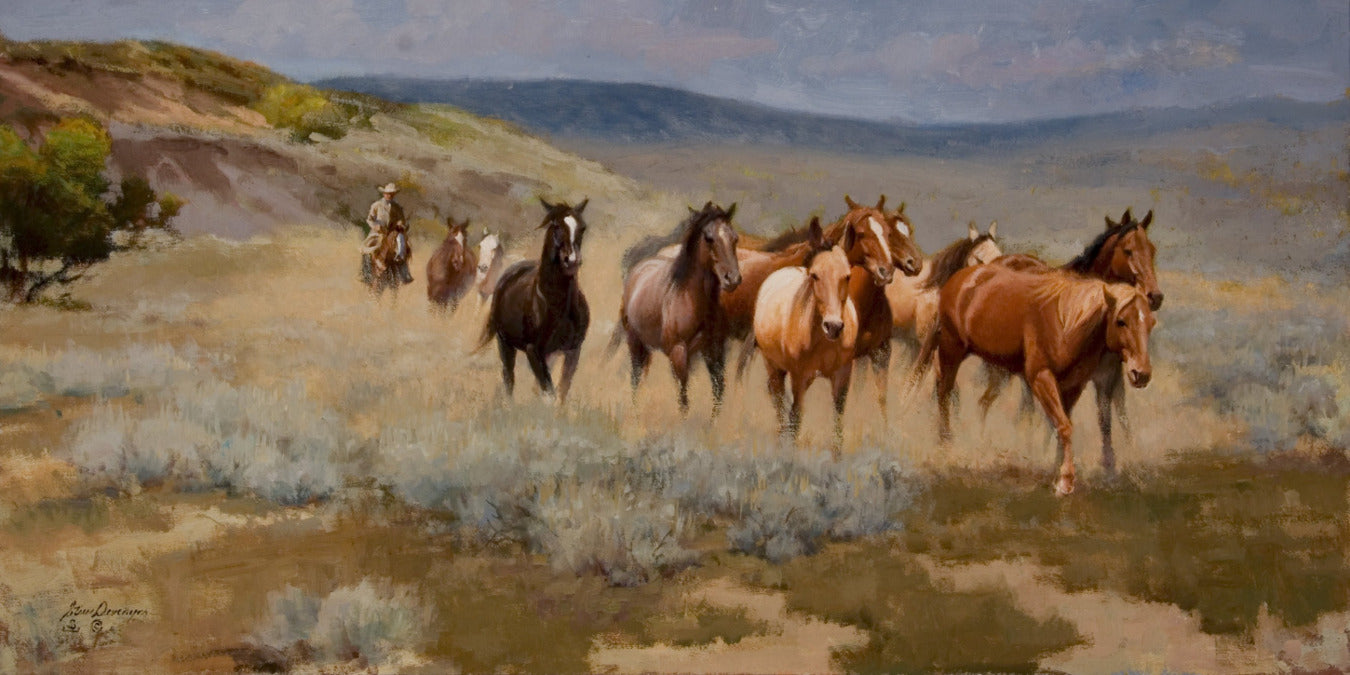 Dry Creek Remuda by western artist Steve Devenyns. Famous Cowboy Artist Steve Devenyns has been featured in the Cheyenne Frontier Days Governor's Art Show, Old West Museum, America's Horse in Art Show. Original Paintings of Ranching, Wildlife and Cowboy art are true depictions of the American Cowboy modern and past.