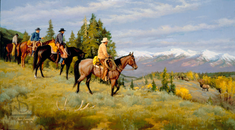 """Fringe Benefits"" by Steve Devenyns is available as a Canvas Transfer or Canvas Transfer Artist Proof. Steve's work features Original Paintings of Ranching, Wildlife and Cowboy art and are true depictions of the American Cowboy modern and past. Award winning fine western artist featured at the Bradford Brinton Museum"
