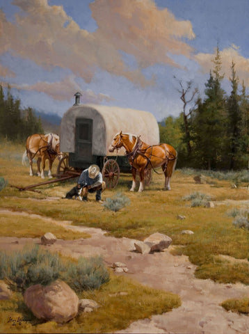 The Cowboy and the Sheep Wagon helped to shape the American West. Home Away from Home by Steve Devenyns is a 24 x 18 Oil Painting on Linen that depicts this moment. The famous Western and Cowboy Artist Steve Devenyns from Cody, Wyoming, the heart of the American West and Cowboy Life.