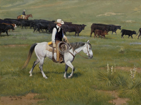 In Good Hands by American Western and Ranch artist Steve Devenyns is a 18 x 24 Oil Painting on Linen. Steve has Original Paintings of Ranching, Wildlife and Cowboy art are true depictions of the American Cowboy modern and past. Truly a cowboy at heart himself, Steve loves the American West and way of life