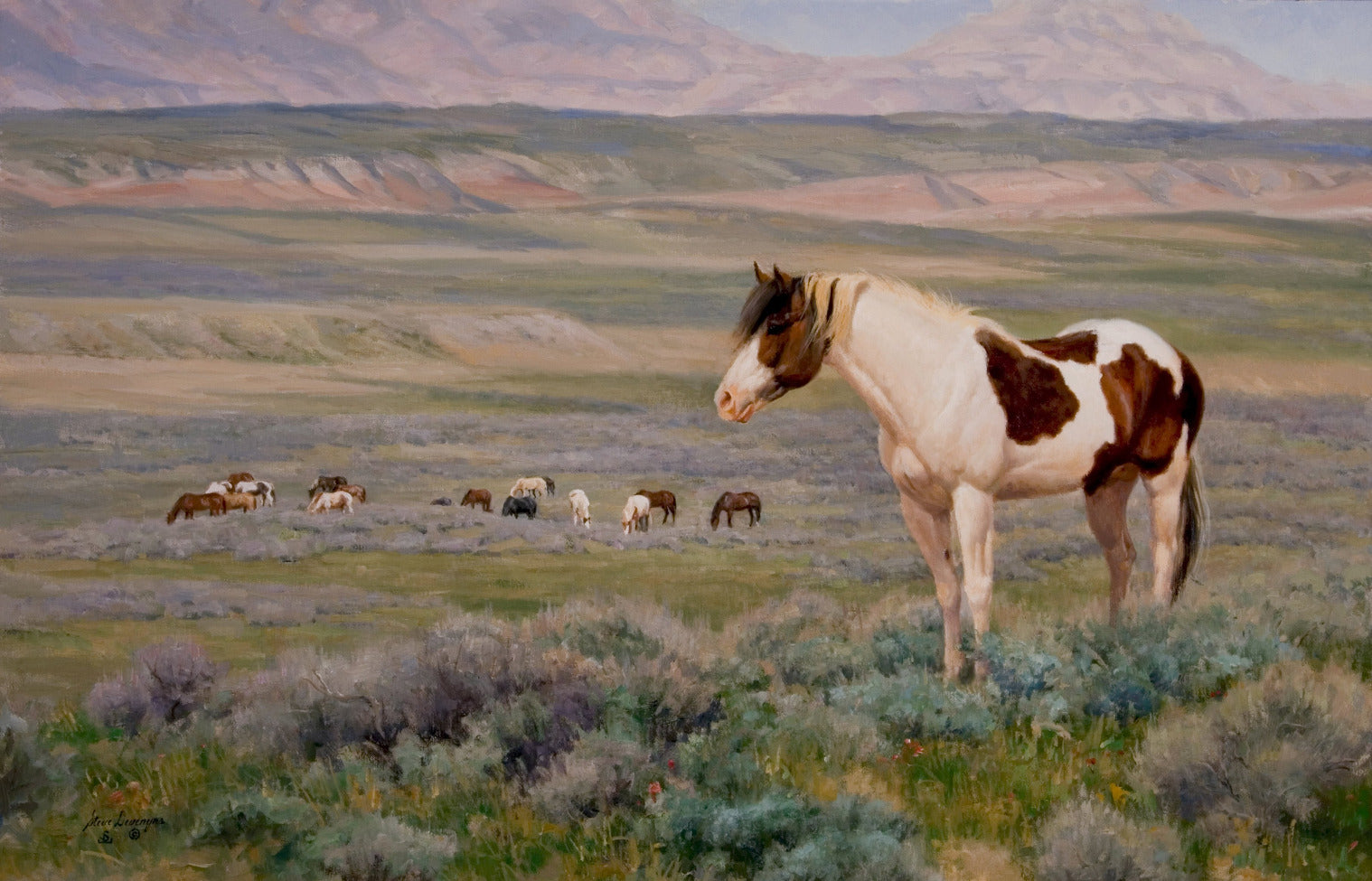 In the Last Wild Place, by Steve Devenyns, famous American Western Fine Artist Oil Painting. A painting depicting the beloved Wild Horses of the American West. Steve has been featured in the Buffalo Bill Art Show, Prix de West Art Show, Eiteljorg Museum, Quest for the West Art Show, and National Museum of Wildlife Art.