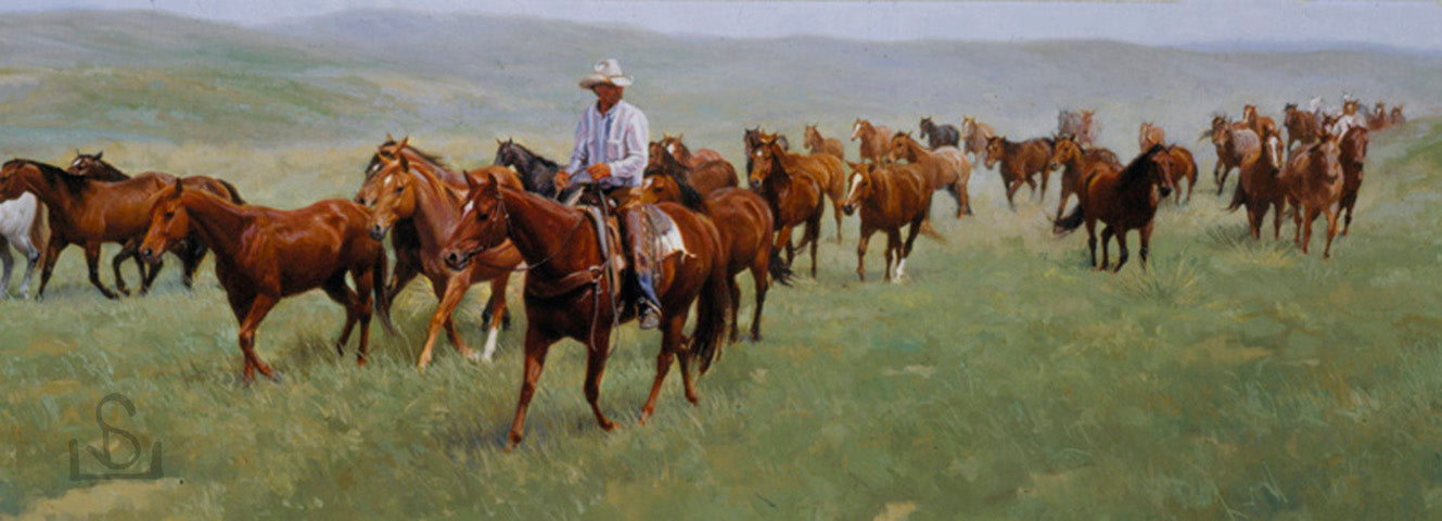 """Jinglin on the Figure 4"" by Steve Devenyns is a true image of the American Cowboy and Ranching in the West. Steve Devenyns is One of America's Finest Western Artists of Fine Art, Limited Edition Prints, Giclee's and Original Paintings of Ranching, Wildlife and Cowboy art."