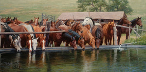 Last Call, by Steve Devenyns, an image of the Horse and Ranching in the West. Featuring horses at a water tank on a summer day. Steve Devenyns is America's Finest Western Artists. Original Paintings of Ranching, Wildlife and Cowboy art. Featured in the Buffalo Bill Art Show, Prix de West Art Show, Eiteljorg Museum