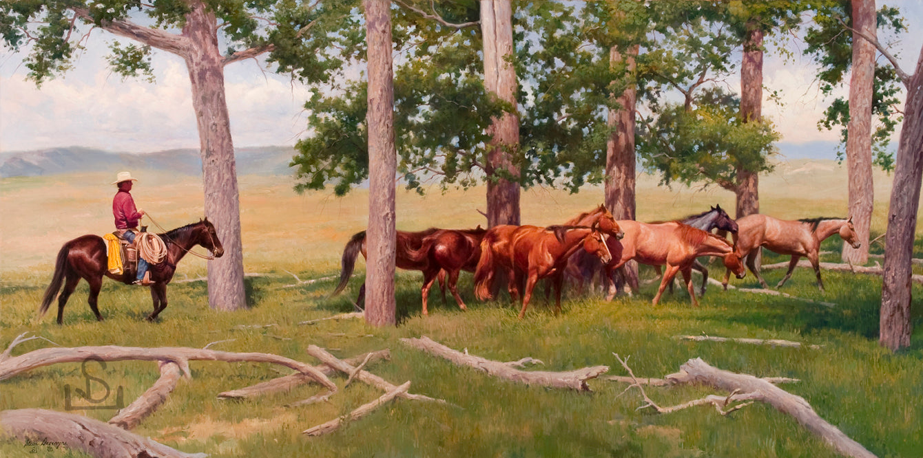 """Last of the Remuda"" by Steve Devenyns is a 24"" x 48"" Original Oil Painting featuring a cowboy bringing in the last of the remuda to a new camp.  His Award winning art has been featured in the Buffalo Bill Art Show, Quest for the West Art Show, National Museum of Wildlife Art, Cheyenne Frontier Days Governor's Art Show, Old West Museum, and America's Horse in Art."