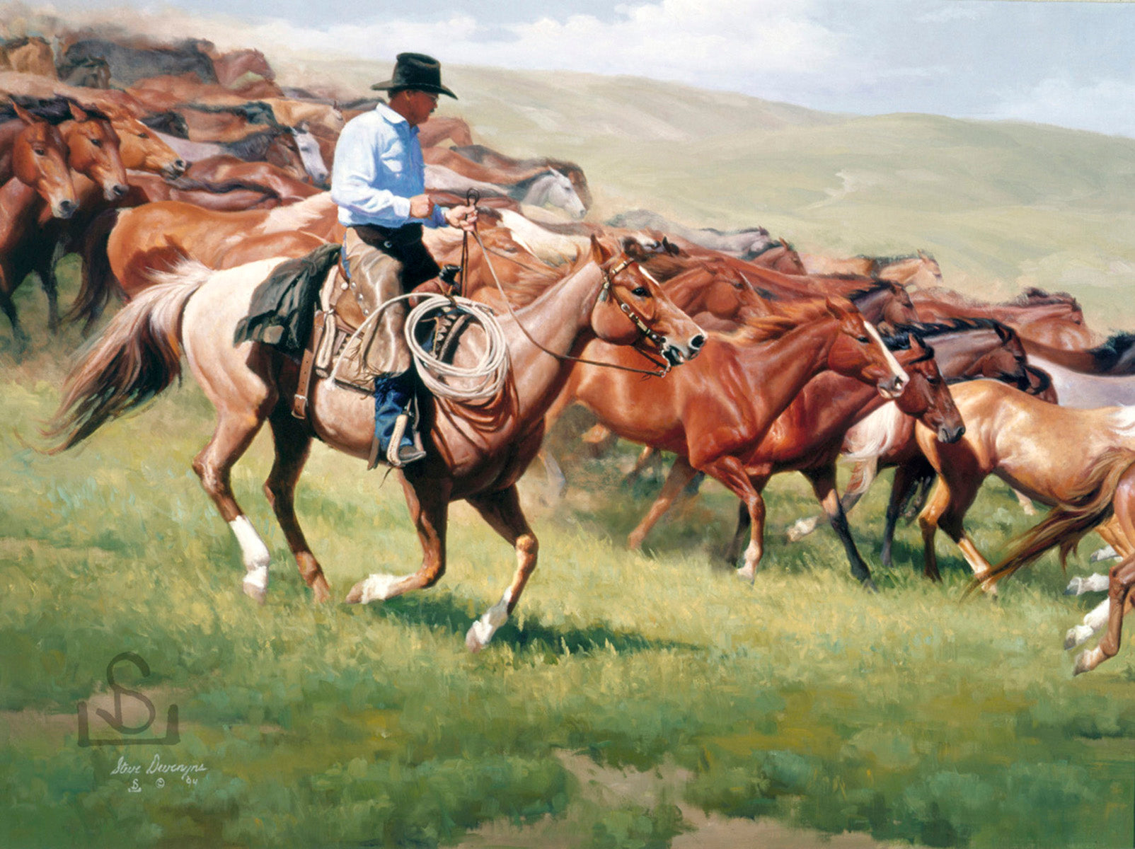 "Nothing beats the rush of horses running on the western plains. ""Life in the Fast Lane"" by Steve Devenyns is available on Giclée on Canvas or Giclée on Canvas Artist Proof. Steve Devenyns is One of America's Finest Western Artists Original Paintings of Ranching, Wildlife and Cowboy art."