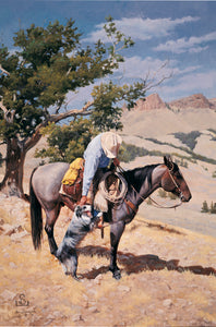 "A good horse and a good dog are a Cowboy's best hands."" Mutual Admiration"" by Steve Devenyns catches a moment you might regularly on the ranch or the hills of the American West with a Cowboy. Steve Devenyns is One of America's Finest Western Artists of Fine Art, original Paintings of Ranching, Wildlife and Cowboy art."