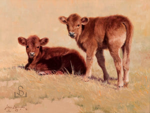 """Red and Redder"" by Steve Devenyns is a 8 x 10"" Original Oil Painting featuring a pair of red Angus calves enjoying a spring day His Award winning art has been featured in the Buffalo Bill Art Show, Quest for the West Art Show, National Museum of Wildlife Art, Cheyenne Frontier Days Governor's Art Show and America's Horse in Art Show."