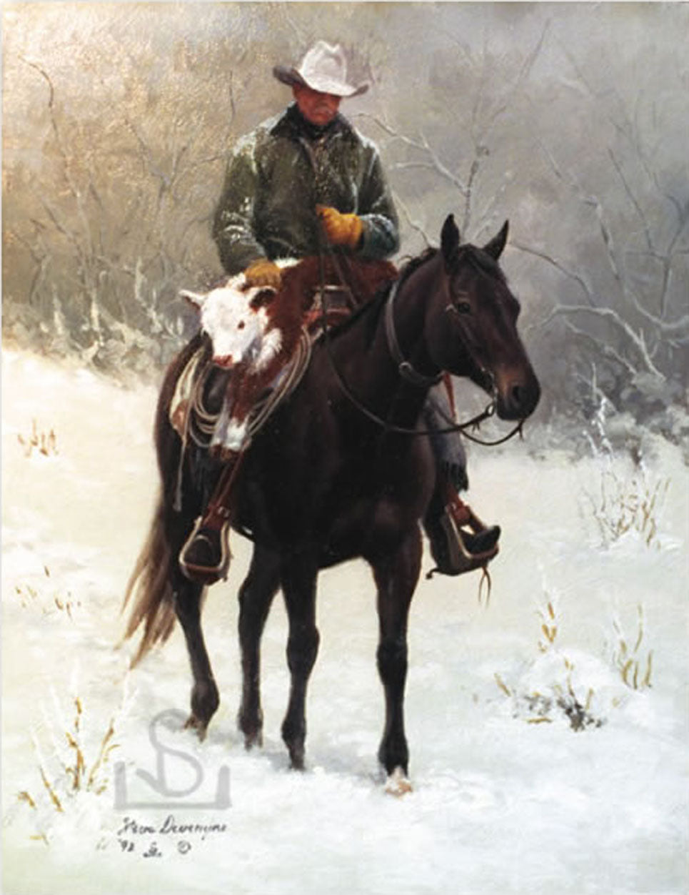 """Rescued"" on the Haythorn Ranch features a cowboy and calf in late winter, early Spring. Painting by Steve Devenyns, one of America's Finest Western Artists of Fine Art, original Paintings of Ranching, Wildlife and Cowboy art. Featured on the cover of several Western lifestyle magazines and features."
