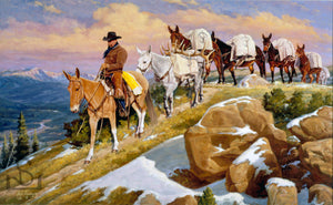 "Western Art by Steve Devenyns featuring a pack string of mules in the high country. Titled ""Rush Hour"" and depicting the life of the American Cowboy, Outfitter, or Guide in the American West. True scenes captured by one of the best Western and Wildlife Artists in the USA. Steve Devenyns, Cody, the heart of the West."