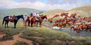 Cowboys and horses at a watering hole in the American West. Ranching and Western Wildlife Artist Steve Devenyns is one of the most awarded artists for his Western Fine Art, original Paintings of Ranching, Wildlife paintings and Cowboy Paintings. Truly one of the finest in the Western Art industry today.