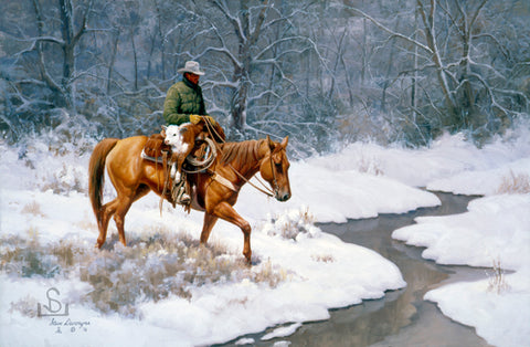 """Search and Rescue"" by Steve Devenyns. His paintings are of Ranching, Wildlife and Cowboy scenes. Steve Devenyns Fine Art and Limited Edition Prints, Giclee's and Original Paintings of Wyoming Wilderness, Outfitters, Mules, pack strings, working cowboys and cattle."