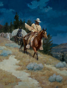 """Silent Passage"" is a 24 x 18 oil on linen depicting the Mountain Man of the Old West. By Steve Devenyns, American Western Artist. His paintings feature working cowboys, working cattle, wilderness, Outfitters, Mules, pack strings, and Native American work. He is one of the most awarded Western Artists in the USA"
