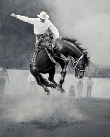 Sittin' Tight on Dynamite by Steve Devenyns is Western American Cowboy art at its finest. A 40 x 30 Oil Painting on Linen. Steve Devenyns is One of America's Finest Western Artists known for his Original Paintings of Ranching, Wildlife and Cowboy art.