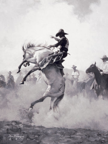 Sky High is a Giclée on Canvas. Only 250 signed and numbered and 25 Artist Proofs. By Steve Devenyns Western Artist. Buy Cowboy Paintings, Western Prints, Working Cowboys, Wilderness and Wildlife Art, Original Paintings, Canvas, or Signed Artist Proofs. Realistic and true American Western Art for sale.