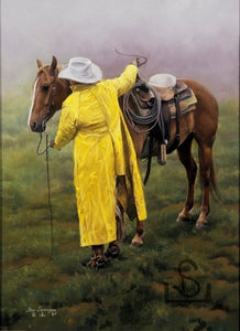 """Start of A Long Day"" is a painting by Steve Devenyns about the Working Cowboy. His fine Western Art has been featured at the Buffalo Bill Art Show and Sale, Cody, Wyoming. You can buy Western Prints, Working Cowboys, Wilderness and Wildlife Art, Original Paintings, Canvas, or Artist Proofs. Buy American Western Art."