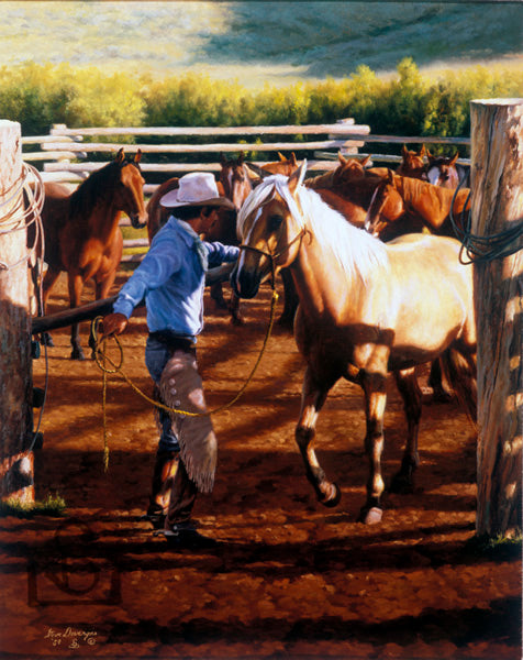 """Sunrise"" by Steve Devenyns, famous Western Fine Artist. You can buy his Original Paintings of Ranching, Wildlife and Cowboy art online. We ship anywhere! Featured in Buffalo Bill Art Show, Eiteljorg Museum, Quest for the West Art Show, National Museum of Wildlife Art Show, Western Visions Art Show."