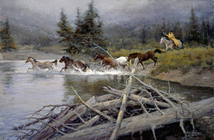 "Buy your copy of ""Wet and Wild"", a print by Steve Devenyns, American Western Fine Artist, Cody, Wyoming. Purchase Fine Art and Limited Edition Prints, Giclee's and Original Paintings of Ranching, Wildlife and Cowboy art from one of the best in the Western Art Industry."