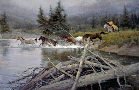 Buy your copy of Wet and Wild, a print by Steve Devenyns, American Western Fine Artist, Cody, Wyoming. Purchase Fine Art and Limited Edition Prints, Giclee's and Original Paintings of Ranching, Wildlife and Cowboy art from one of the best in the Western Art Industry.
