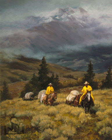 "Buy art from Steve Devenyns One of America's Finest Western Artists. Buy Fine Art and Limited Edition Prints, Giclee's and Original Paintings of Ranching, Wildlife and Cowboy art. ""Where Friendships Form"" is a painting of a mountain scene with Wilderness and Cowboys and a pack string to hang in your den by fireplace!"