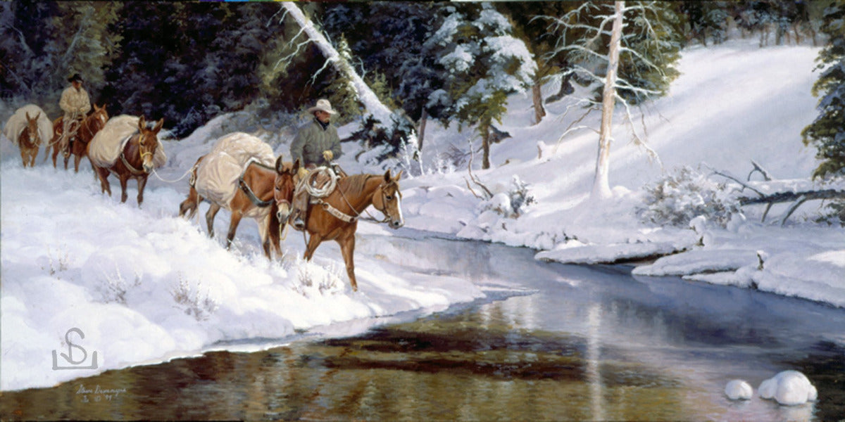 """Winter's Glory"" by Steve Devenyns, famous Western Artist. Buy Western Prints, Working Cowboys, Wilderness and Wildlife Art, Original Paintings, Canvas, or Artist Proofs. Buy American Western Art online at www.stevedevenyns.com"