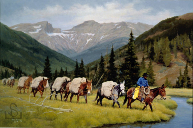 """Wyoming Wilderness"" by Steve Devenyns, famous Western Artist. Buy Western Prints, Working Cowboys, Wilderness and Wildlife Art, Original Paintings, Canvas, or Artist Proofs. Buy American Western Art online at www.stevedevenyns.com Buy real paintings of Wyoming Wilderness, Outfitters, Mules, pack strings, and cowboys."