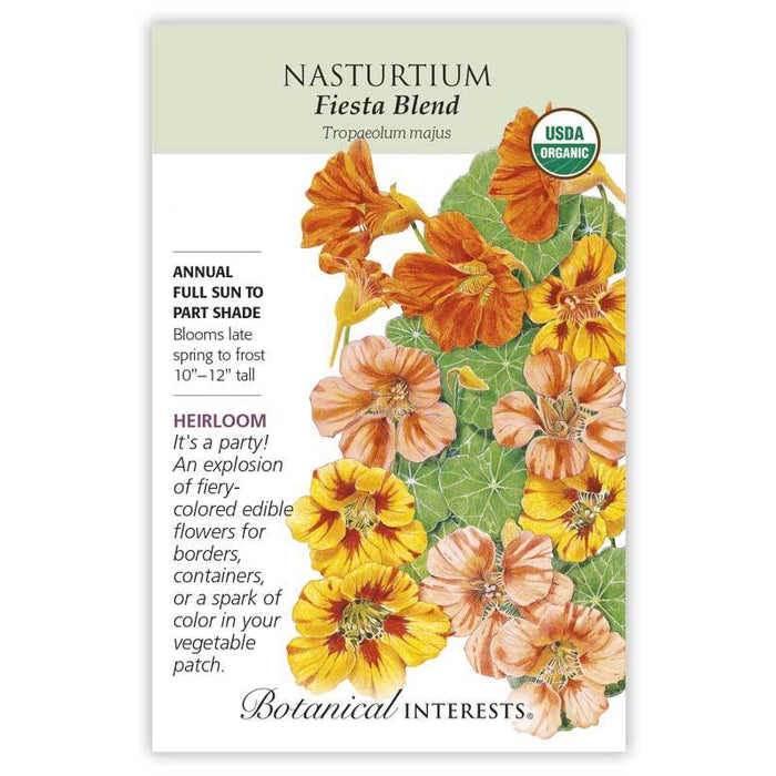 Botanical Interests, Nasturtium Fiesta Blend Organic, Heirloom