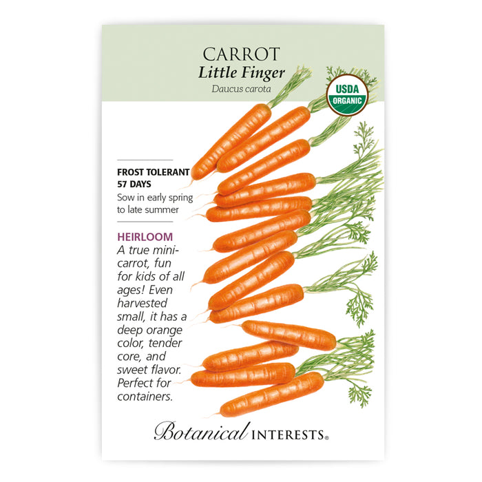 Botanical Interests, Carrot, Little Finger  Organic, Heirloom