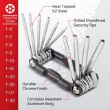 CARBYNE Tamper Star Wrench Set - 10 Piece, Folding,  T-6 to T-30 | S2 Steel