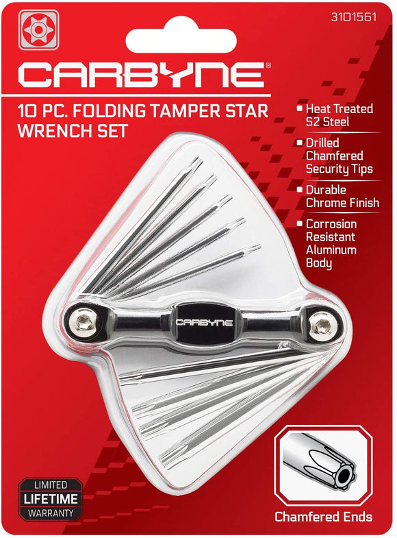 CARBYNE 10 Piece Folding Tamper Star Wrench Set, T-6 to T-30 | S2 Steel