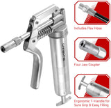 CARBYNE Heavy Duty Professional Quality Mini Pistol Grease Gun, 3000 PSI. Includes Both 12 inch Flex Hose and 4 inch Rigid Extension