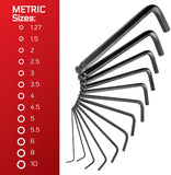 CARBYNE Long Arm Ball End Hex Key Wrench Set - 35 Piece, Inch/Metric/Star, S2 Steel