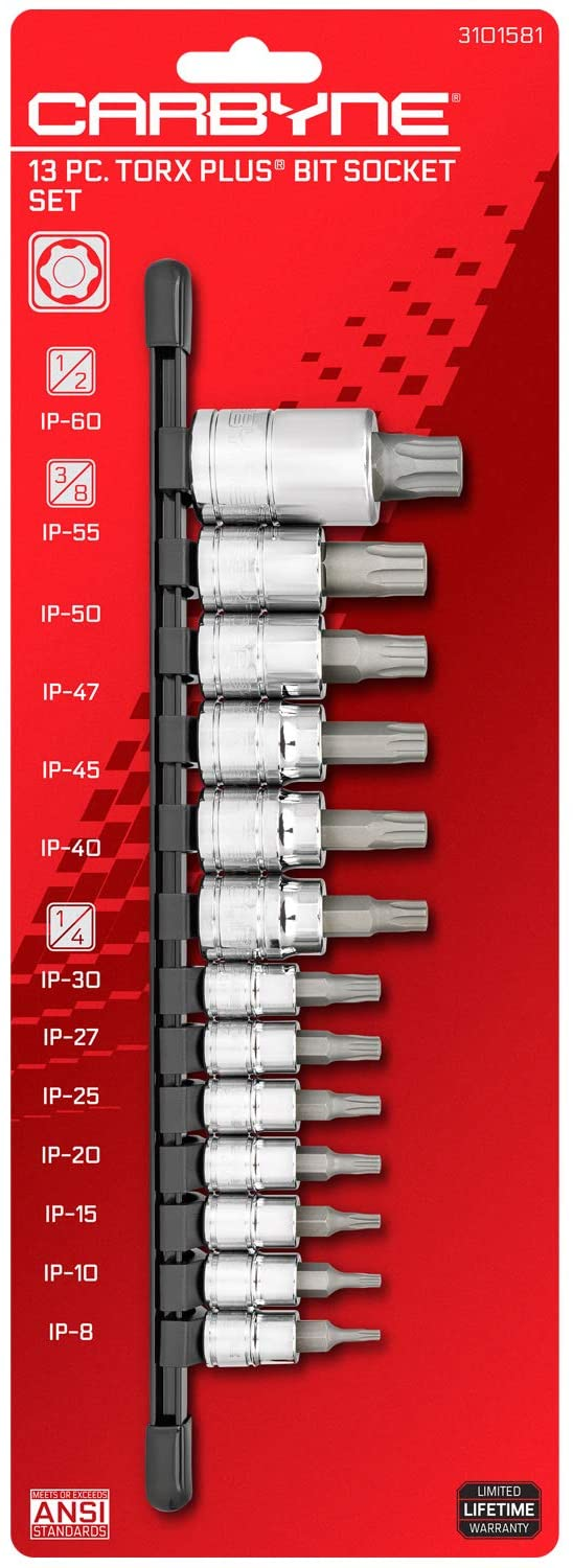 CARBYNE 13 Piece Torx Plus Bit Socket Set, IP-8 to IP-60, S2 Steel Bits, CRV Sockets | 1/4-inch, 3/8-inch & 1/2-inch Drive