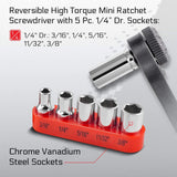 CARBYNE 17 Piece Right Angle 1/4-Inch Dual-Drive Head Mini Ratchet Wrench Screwdriver, Bit Set & Sockets | CR-V Steel