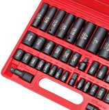 CARBYNE 40 Piece Impact Socket Set, SAE & Metric, Standard and Deep Sockets, 3/8 inch & 1/2 inch Drive, Cr-V Steel