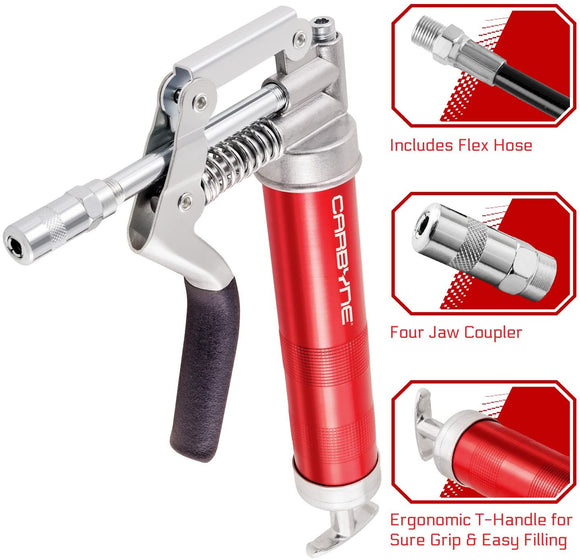 CARBYNE Heavy Duty Professional Quality Mini Pistol Grease Gun with Anodized Aluminum Barrel, 3000 PSI. Includes both 12 inch Flex Hose AND 4 inch Rigid Extension