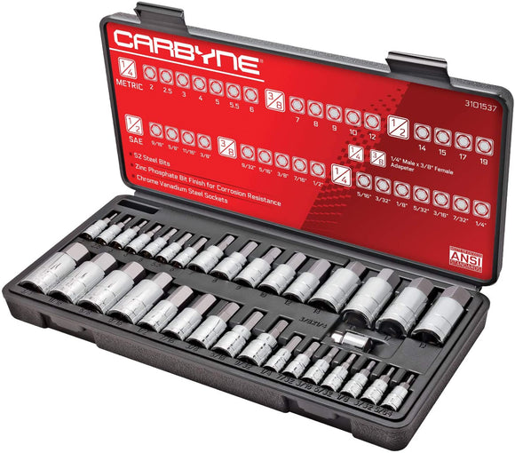 CARBYNE Master Hex Bit Socket Set - 33 Piece, SAE & Metric | S2 Steel Bits