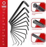 CARBYNE 35 Piece Long Arm Ball End Hex Key Wrench Set, Inch/Metric/Star, S2 Steel