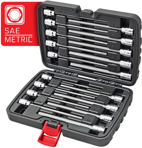 "CARBYNE 18 Piece Extra Long Hex Bit Socket Set - SAE & Metric, S2 Steel Bits | 3/8"" Drive, 1/8"" to 3/8"" & 3mm to 10mm"