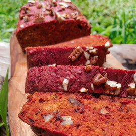 organic beetroot bread with pecans gluten free dairy free