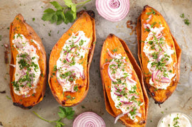 organic sweet potato with creme fraiche from our local dairy