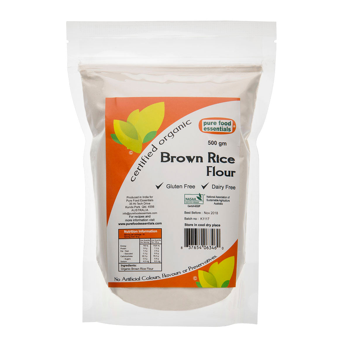 Pure Food Essentials Organic Brown Rice Flour   500g