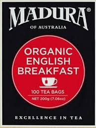 Madura Organic English Breakfast Tea, 100 Bags