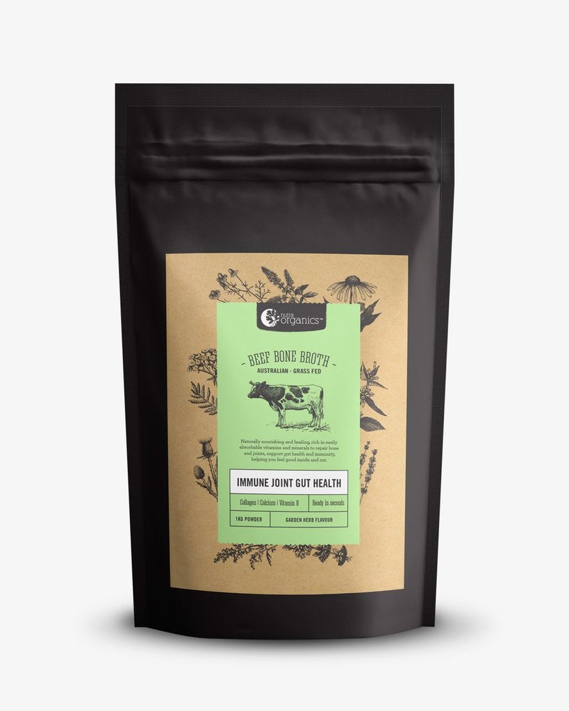 NUTRA ORGANICS Beef Bone Broth Powder - Herb & Garlic  1KG