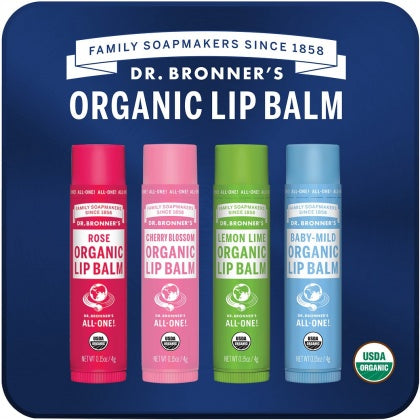 DR. BRONNERS Lip Balm Tin Rose incl. 4 x 4g Lip Balms, Naked, lemon Lime, Cherry Blossom & Rose