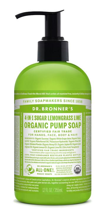 DR. BRONNERS HAND & BODY PUMP SOAPS Lemongrass Lime 355ml