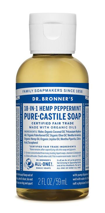 DR. BRONNERS CASTILE LIQUID SOAPS Peppermint 59ml
