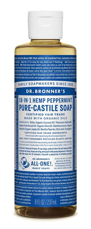 DR. BRONNERS CASTILE LIQUID SOAPS Peppermint 237ml