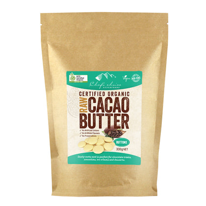 CHEF'S CHOICE Organic Raw Cacao Butter Buttons  300g