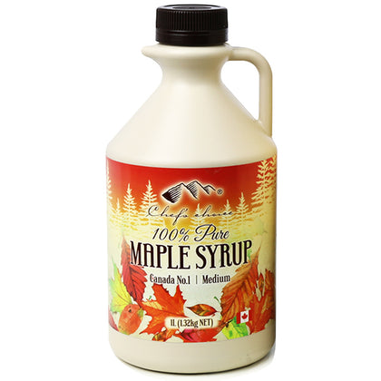 CHEF'S CHOICE 100% Pure Maple Syrup Plastic Jug  1L