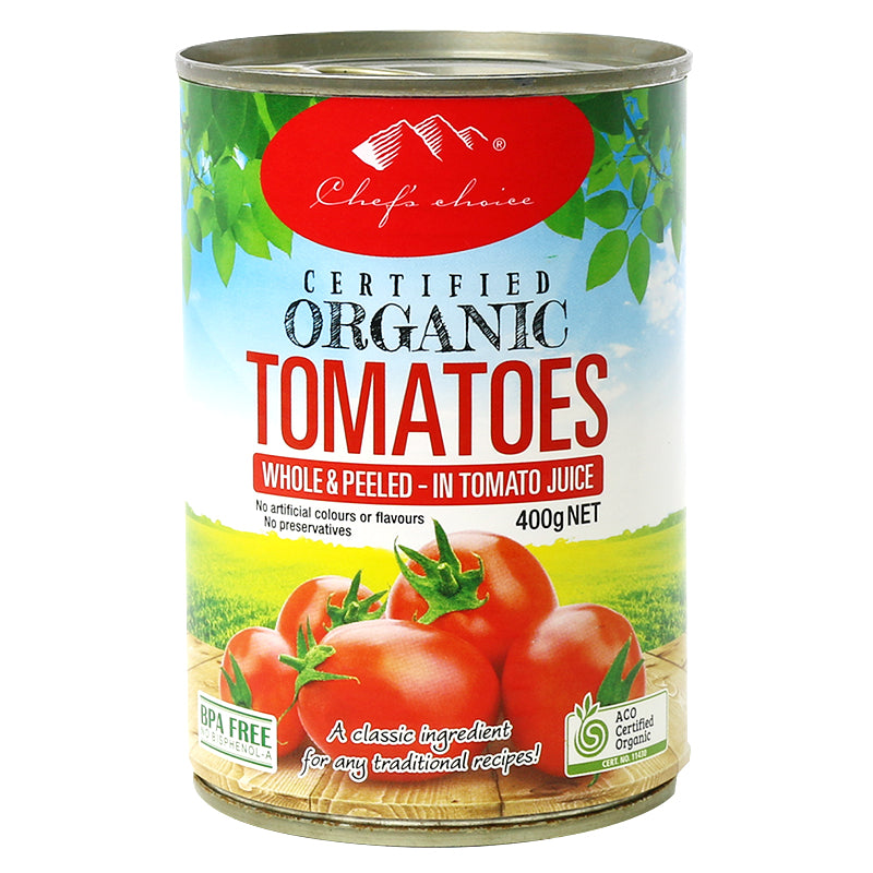 Chef's Choice Organic Whole Tomatoes  400g